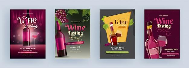 Szablon wydarzenia degustacja wina lub projekt ulotki z butelką z napojem i kieliszkiem koktajlowym w czterech kolorach.