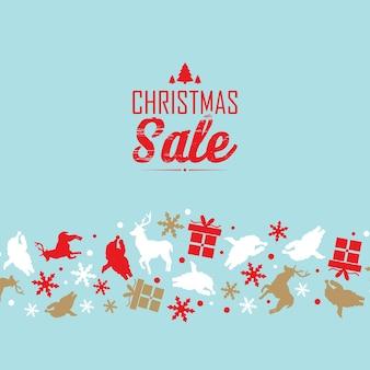 Szablon wydarzenia świątecznej wyprzedaży z tekstem o rabatach i ozdobnych symbolach, takich jak płatek śniegu, święty mikołaj i jeleń