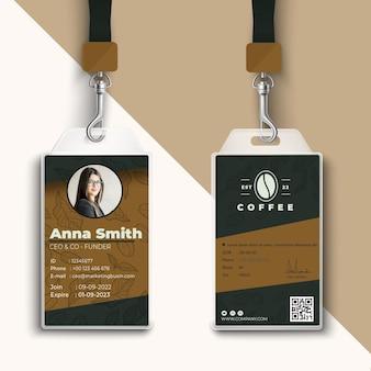 Szablon wydruku karty identyfikacyjnej kawiarni kawiarni