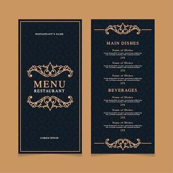 Szablon wydruku menu restauracji