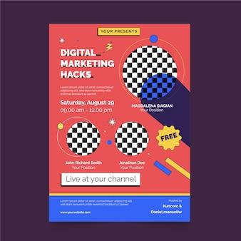 Szablon wydruku plakatu z hackami marketingu cyfrowego