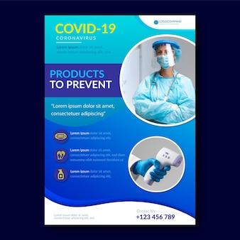 Szablon wydruku produktów medycznych koronawirusa ze zdjęciem