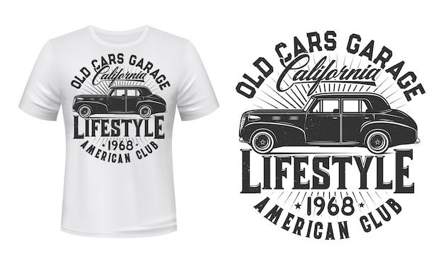 Szablon wydruku t-shirt rocznika samochodu
