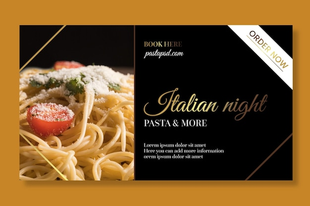 Szablon wydruku transparentu luksusowego włoskiego jedzenia