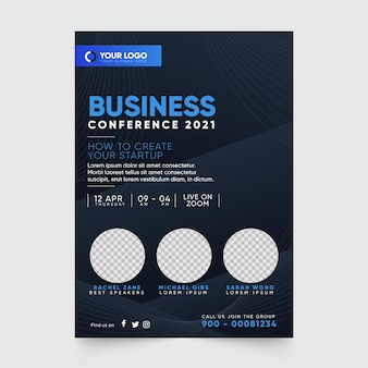 Szablon wydruku ulotki konferencji biznesowej 2021