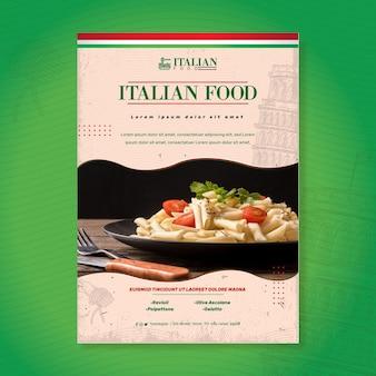 Szablon wydruku ulotki włoskiego jedzenia