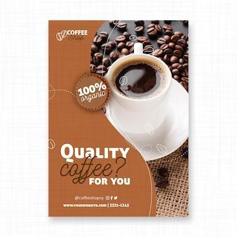 Szablon wydruku ulotki wysokiej jakości kawy