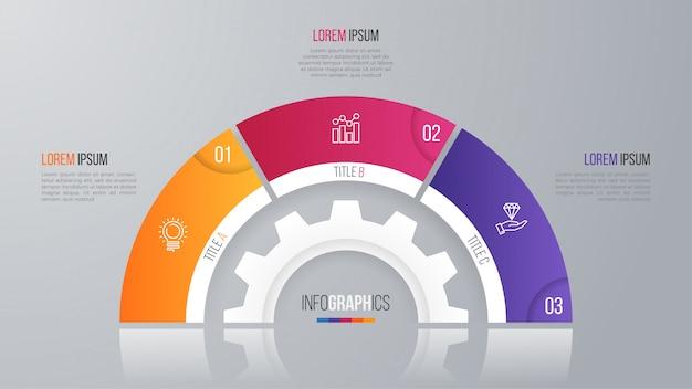 Szablon wykresu koło wektor dla opcji infografiki.