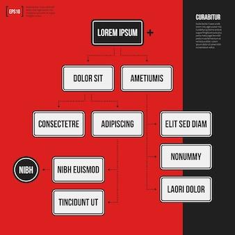 Szablon wykresu organizacji z elementami geometrycznymi na jasnym czerwonym tle. przydatne dla prezentacji naukowych i biznesowych.