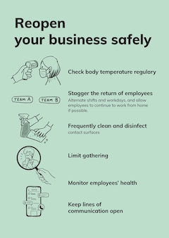 Szablon wytycznych dotyczących koronawirusa w miejscu pracy, wektor ponownie otwiera środki bezpieczeństwa biznesowego