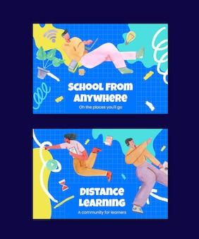 Szablon z koncepcją uczenia się online, w stylu przypominającym akwarele
