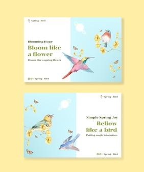 Szablon z koncepcją wiosny i ptaka dla mediów społecznościowych i ilustracji akwareli społeczności