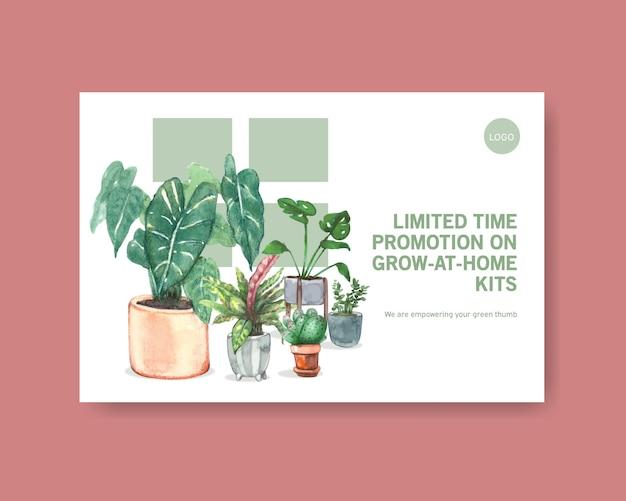 Szablon z letnich roślin projekt dla mediów społecznościowych, internetu, sieci, społeczności online i reklamować akwarela ilustracji