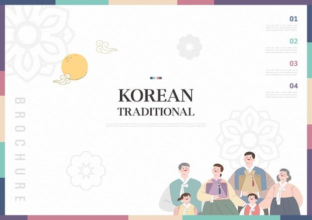 Szablon z motywem koreańskiej tradycji w tle broszura