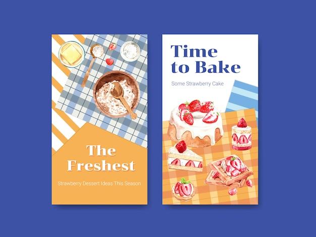 Szablon z pieczenia truskawek i projektowania składników dla mediów społecznościowych, społeczności online, internetu i reklamować akwarele ilustracji