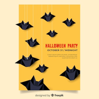 Szablon z płaska konstrukcja halloween party plakat