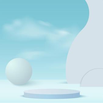 Szablon z podium geometryczne niebo 3d w kolorze niebieskim.