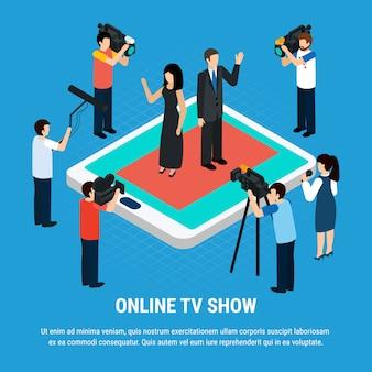 Szablon z strzelaniem dziennikarzy zespołu celebrytów ludzkich postaci na ekranie tabletu
