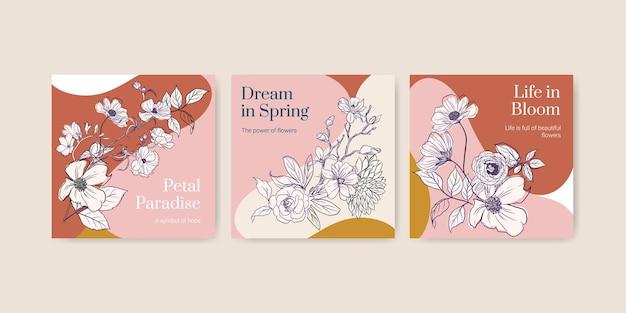Szablon z wiosną linii sztuki koncepcji projektu akwarela transparent