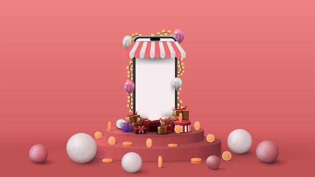 Szablon z wolumetrycznym smartfonem z pustym ekranem, prezentami, monetami i kulami na różowym podium. renderowanie ilustracji z różowym abstrakcyjną sceną