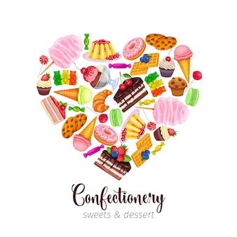 Szablon z wyrobami cukierniczymi i słodyczami