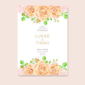 Szablon zaproszenia ślubne z piękne róże kwiaty