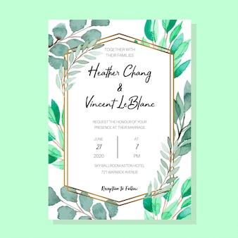 Szablon zaproszenia akwarela jade i emerald vintage classic folia