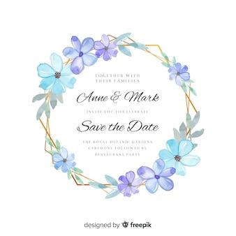 Szablon zaproszenia akwarela piękny ślub kwiatowy