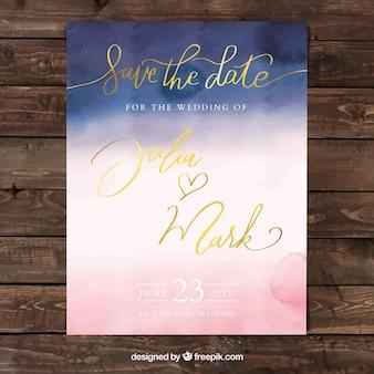 Szablon zaproszenia akwarela streszczenie ślub