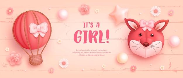 Szablon zaproszenia baby shower dla dziewczynki