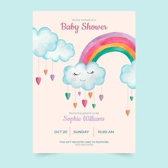 Szablon zaproszenia baby shower ze zdjęciem chuva de amor