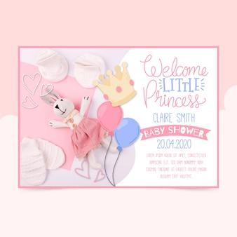 Szablon zaproszenia baby shower ze zdjęciem (dziewczynka)