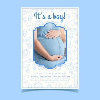 Szablon zaproszenia baby shower ze zdjęciem lub kobiety w ciąży