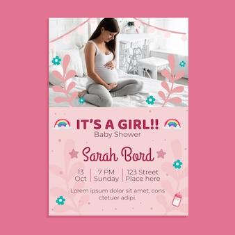 Szablon zaproszenia baby shower ze zdjęciem