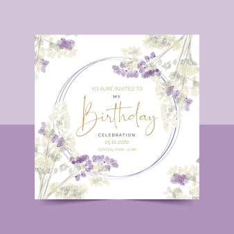 Szablon zaproszenia elegancki kwiatowy urodziny