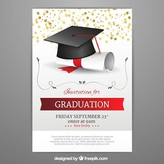 Szablon zaproszenia graduation w realistyczny styl