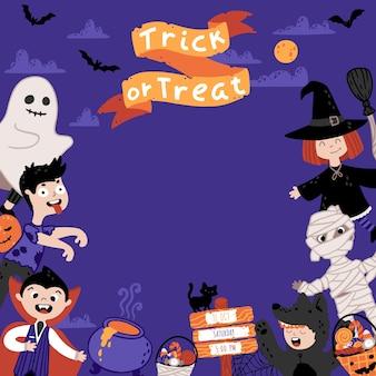 Szablon zaproszenia halloween na bal przebierańców dla dzieci. grupa dzieciaków w różnych kostiumach. nocne niebo na tle. śliczna dziecinna ilustracja w stylu cartoon rysowane ręcznie. napis trick or treat.