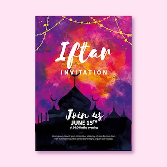 Szablon zaproszenia iftar akwarela