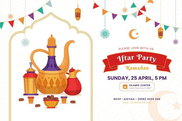 Szablon zaproszenia iftar. ramadan kareem tło z elegancką mandalą, latarnią i czajnikiem