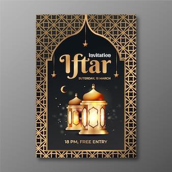 Szablon zaproszenia iftar z realistycznym obrazem