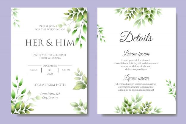 Szablon zaproszenia karty piękny ślub