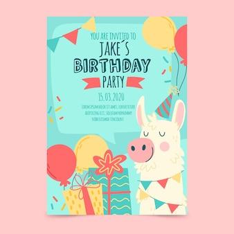 Szablon zaproszenia karty urodziny