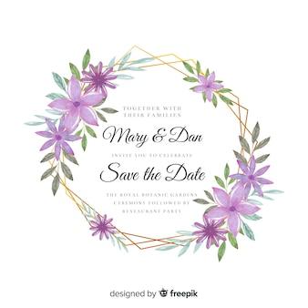 Szablon zaproszenia kolorowy ślub akwarela kwiatowy