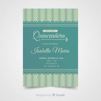 Szablon zaproszenia koronki quinceanera