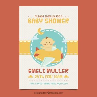 Szablon zaproszenia kreatywnych baby shower