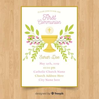 Szablon zaproszenia kwiatowy pierwszej komunii