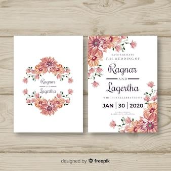 Szablon zaproszenia kwiatowy ślub