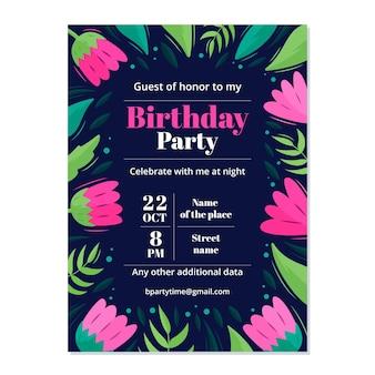 Szablon zaproszenia kwiatowy urodziny z liści