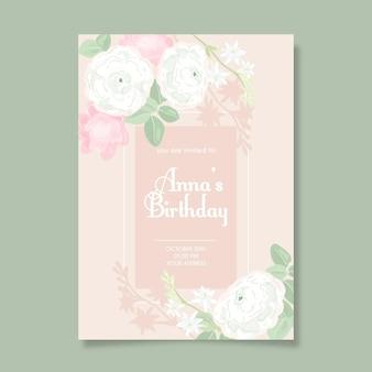 Szablon zaproszenia kwiatowy urodziny