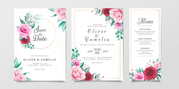 Szablon zaproszenia kwiatowy wesele zestaw dekoracji akwarela kwiaty